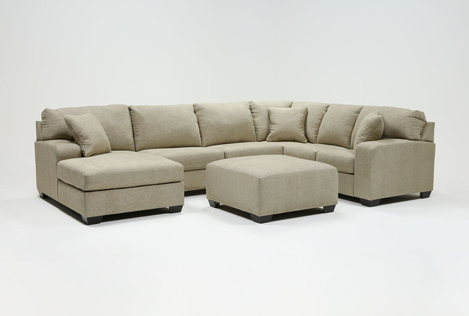 Bryton Jute 3 Piece Sectional With Left Arm Facing Chaise and Cocktail Ottoman - 360