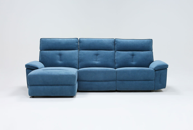Pippa Blue 3 Piece Sectional With Armless Recliner, Left Arm Facing Chaise & Power Headrest - 360
