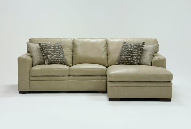 """Greer Stone Leather 2 Piece 108"""" Sectional With Right Arm Facing Chaise & Left Arm Facing Loveseat - 360"""