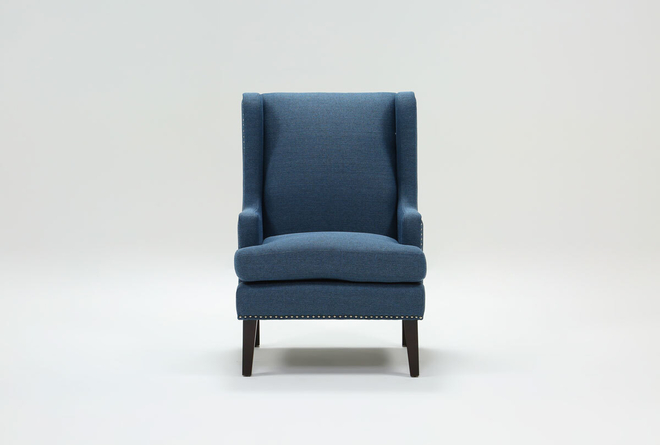 Clayton Blue Wingback Chair - 360