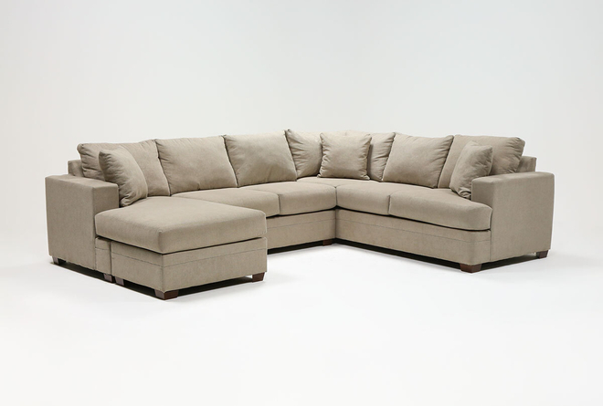 """Kerri Cement 2 Piece 126"""" Sectional With Left Arm Facing Sofa Chaise - 360"""