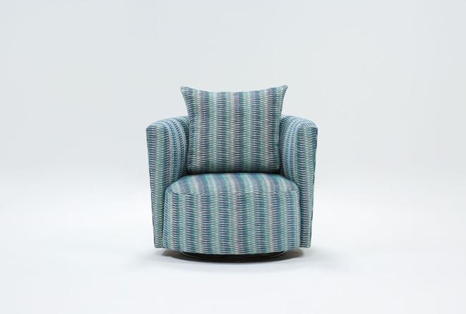 Retreat Twirl Cerulean Swivel Accent Chair - 360