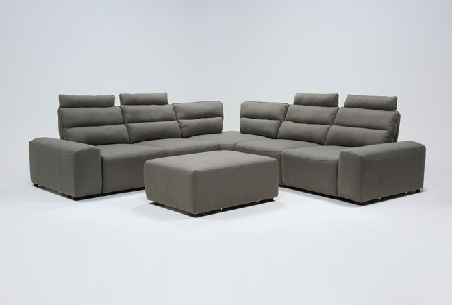 "Sagan 7 Piece 134"" Power Reclining Sectional With 2 Armrests & Ottoman - 360"