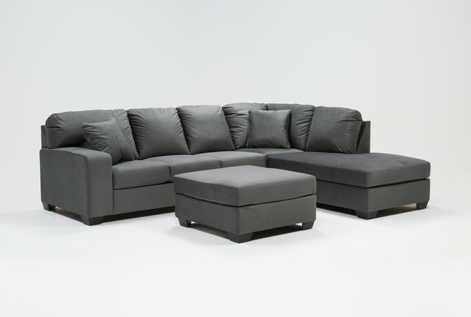 Romy Graphite 2 Piece Sectional With Right Arm Facing Chaise & Ottoman - 360