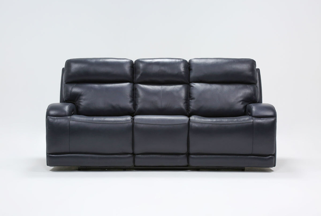 "Victor Navy Zero Gravity 88"" Power Reclining Sofa With Power Headrest & Lumbar - 360"