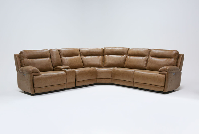 """Wallace Light Brown Zero Gravity 6 Piece 138"""" Power Reclining Sectional With Power Headrest - 360"""