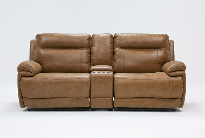 "Wallace Light Brown Zero Gravity 3 Piece 96"" Power Reclining Console Loveseat With Power Headrest - 360"