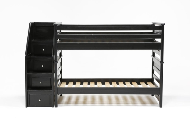 Summit Black Twin Over Twin Bunk Bed With Stairway Chest - 360