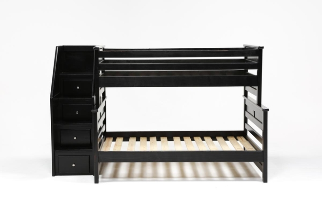 Summit Black Twin Over Full Bunk Bed With Stairway Chest - 360
