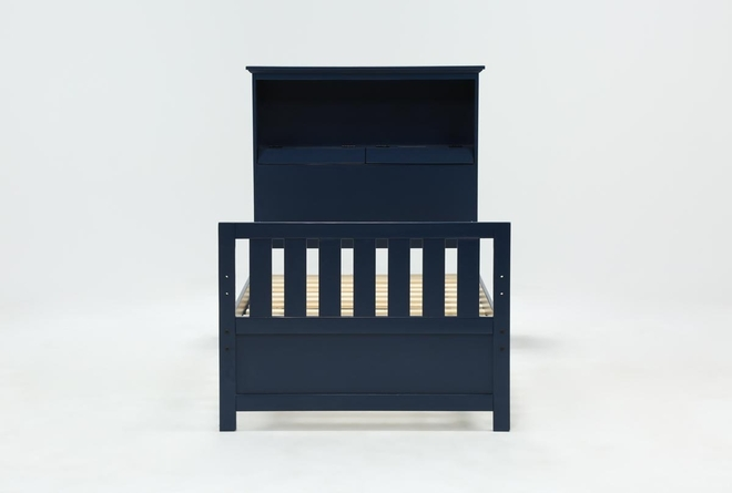 Taylor Navy Twin Bookcase Bed With USB - 360