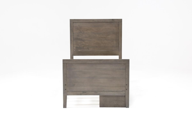 Owen Grey Twin Panel Bed With Single 2-Drawer Storage Unit - 360