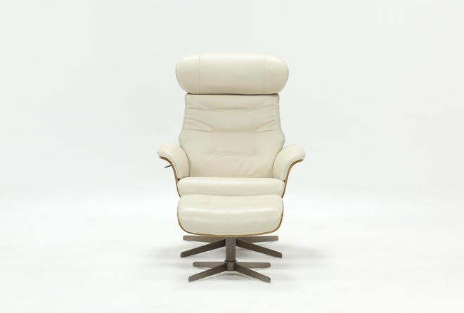 Amala Bone Leather Reclining Swivel Chair With Adjustable Headrest And Ottoman - 360