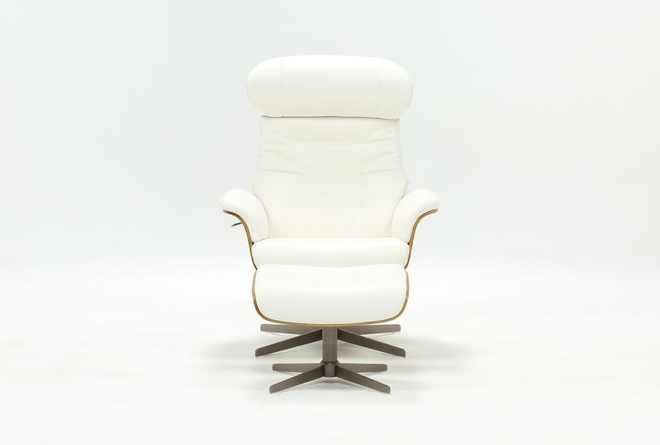Amala White Leather Reclining Swivel Chair With Adjustable Headrest And Ottoman - 360