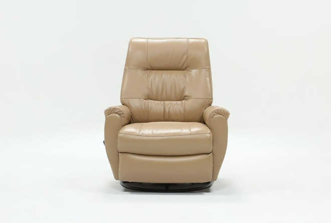 Rogan Leather Cafe Latte Swivel Glider Recliner - 360