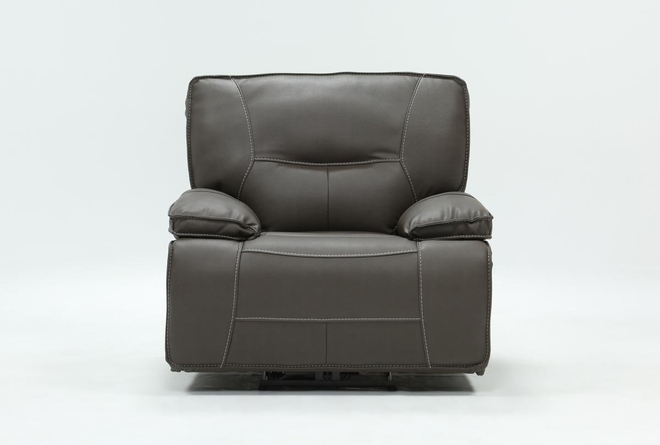 Marcus Grey Recliner W/Power Headrest And Usb - 360