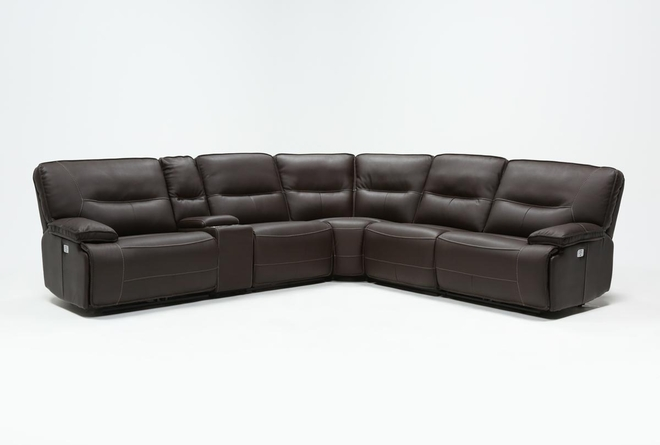 Marcus Chocolate 6 Piece Sectional W/Power Headrest And Usb - 360