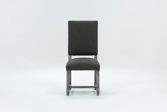 Pacifica Charcoal Linen Dining Chair With Cement Legs - 360
