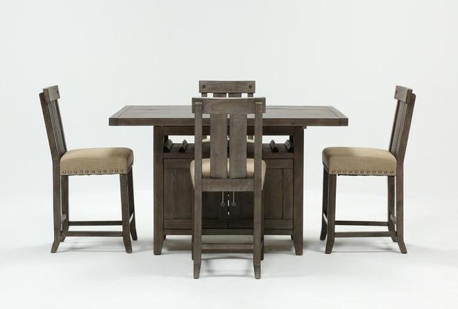 Jaxon Grey 5 Piece Extension Counter Set W/Wood Stools - 360