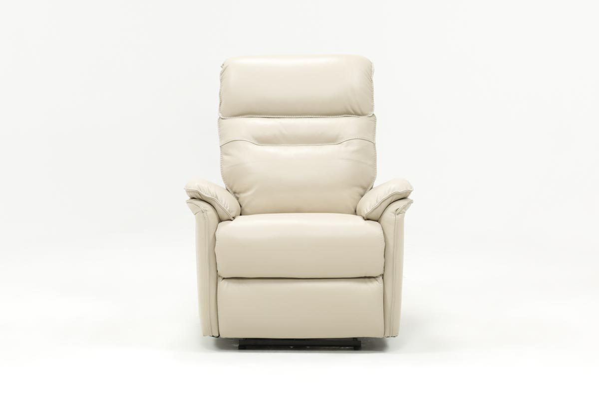 Laird Cream Leather Power Wallaway Recliner W Adjustable