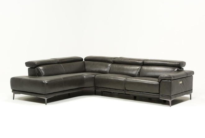 Tatum Dark Grey 2 Piece Sectional With Left Arm Facing Armless Chaise - 360