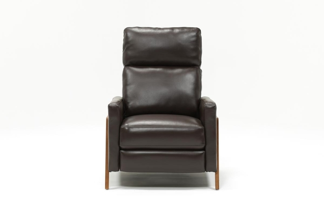 Daniel Chocolate Leather Pressback Recliner - 360