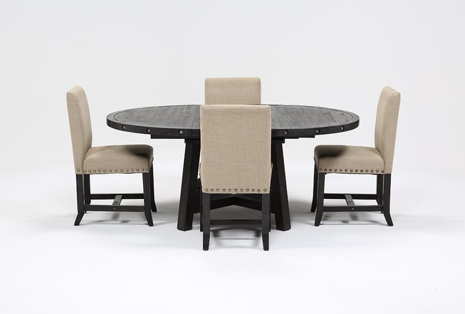 Jaxon 5 Piece Round Dining Set With Upholstered Chairs - 360