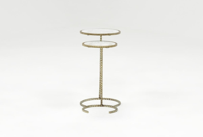 2 Piece Metal And Marble Side Tables - 360