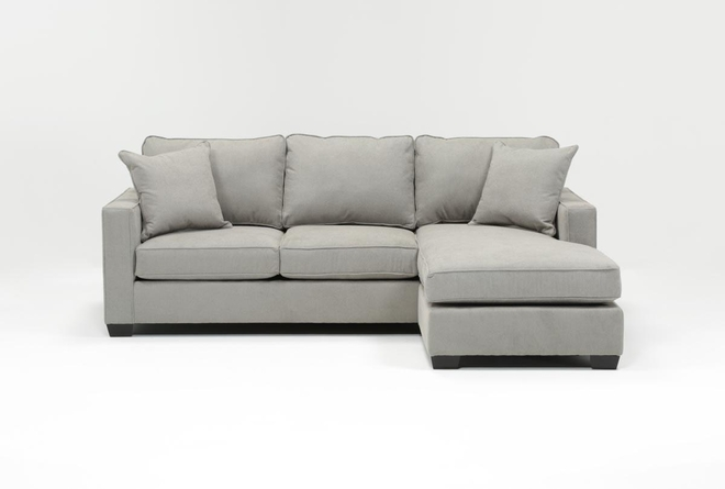 "Egan II Cement 93"" Sofa With Reversible Chaise - 360"