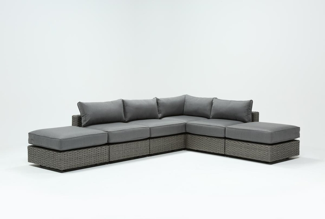 "Koro Outdoor 6 Piece 130"" Sectional With 2 Ottomans  - 360"