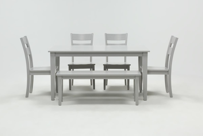 Lindy 6 Piece Dove Grey Rectangle Dining Set - 360