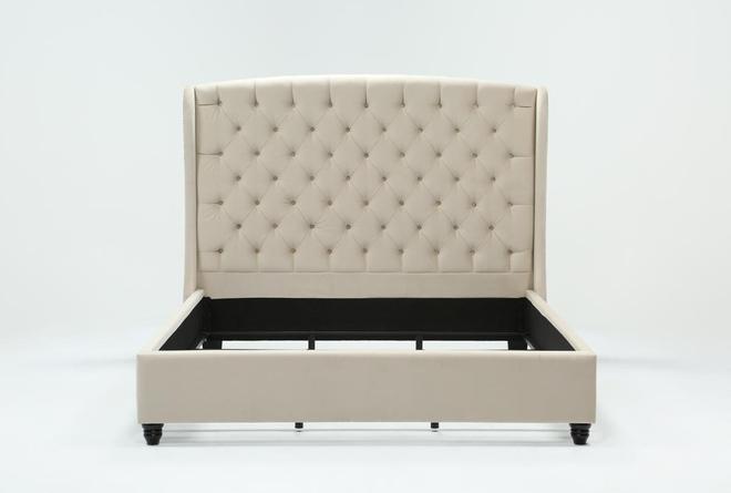 Mariah Queen Velvet Upholstered Panel Bed - 360