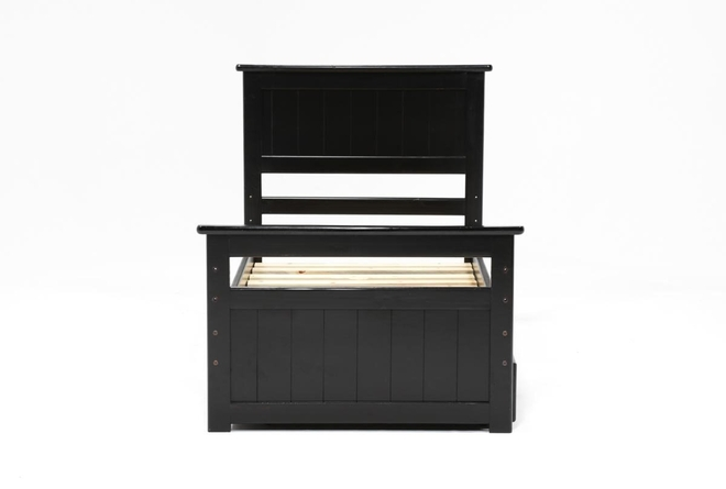 Summit Black Twin Panel Bed With Trundle With Mattress - 360