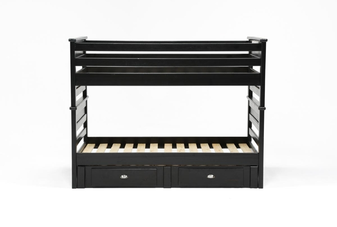 Summit Black Twin Over Twin Bunk Bed With 2 Drawer Underbed Storage - 360
