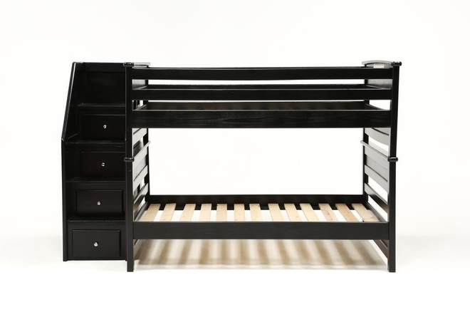 Summit Black Full Over Full Bunk Bed With Stairway Chest - 360