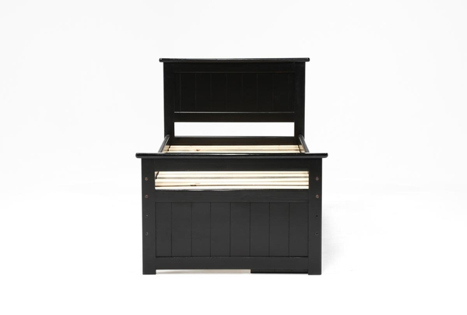 Summit Black Twin Panel Bed With Single 4-Drawer Storage - 360