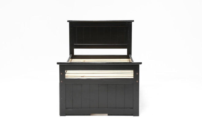 Summit Black Twin Panel Bed With Double 4-Drawer Storage - 360