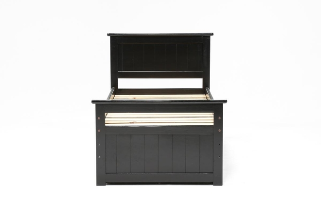 Summit Black Twin Panel Bed With 2-Drawer Captains Trundle - 360