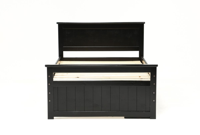 Summit Black Full Panel Bed With Single 4-Drawer Storage - 360