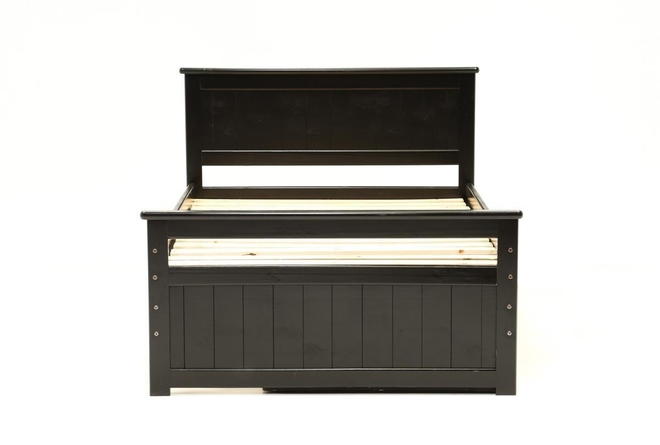 Summit Black Full Panel Bed With 2-Drawer Captains Trundle - 360