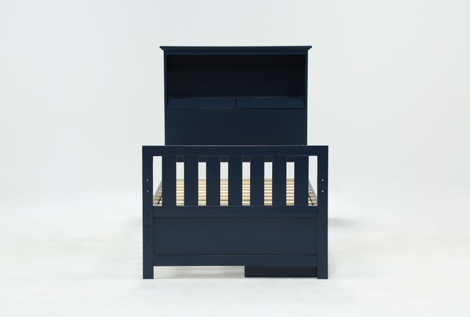 Taylor Navy Twin Bookcase Bed With Single 3-Drawer Storage and USB - 360