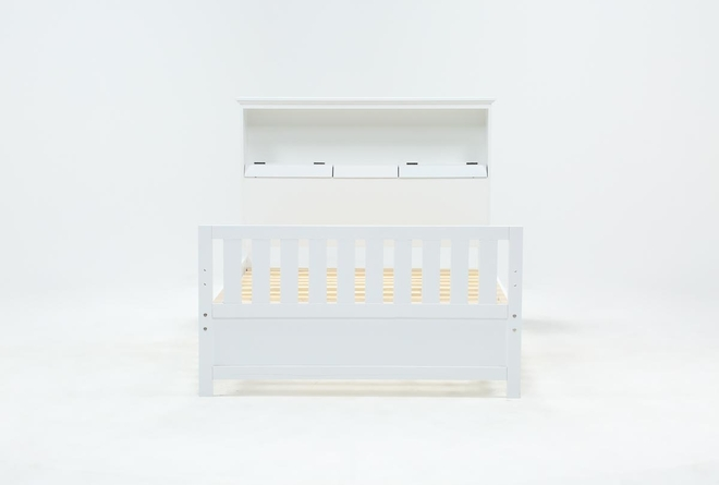 Taylor White Full Bookcase Bed With USB - 360