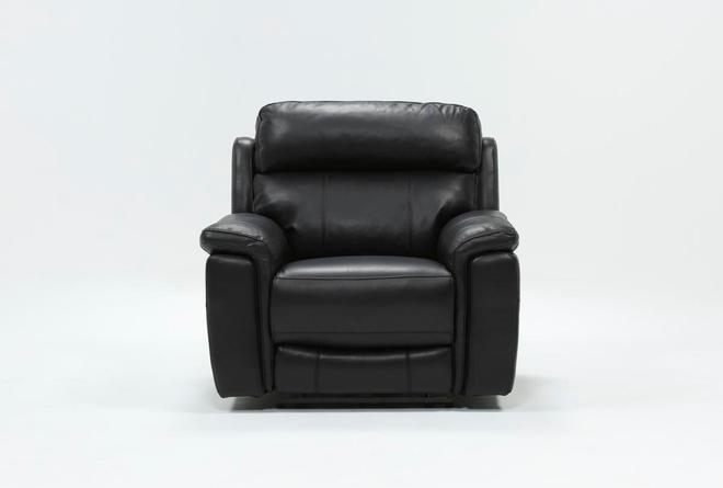 Dino Black Leather Power Recliner W/Power Headrest & Usb - 360