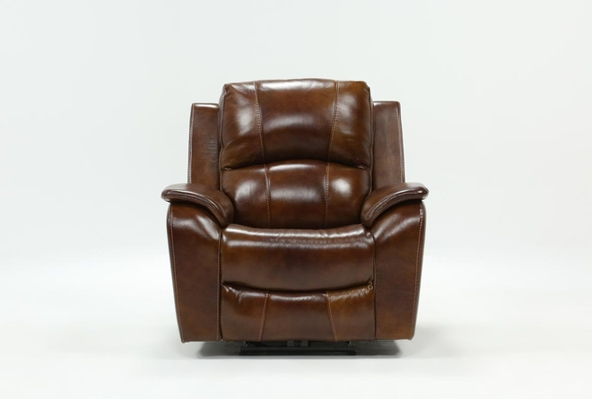 Travis Cognac Leather Power Recliner W/Power Headrest And Usb - 360