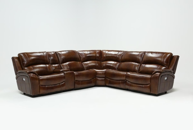 Travis Cognac Leather 6 Piece Power Reclining Sectional With Power Headrest & USB - 360