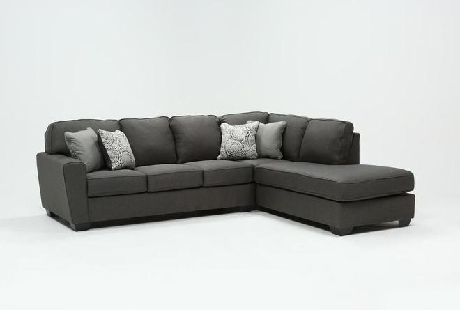 """Mcdade Graphite 2 Piece 114"""" Sectional With Right Arm Facing Armless Chaise - 360"""