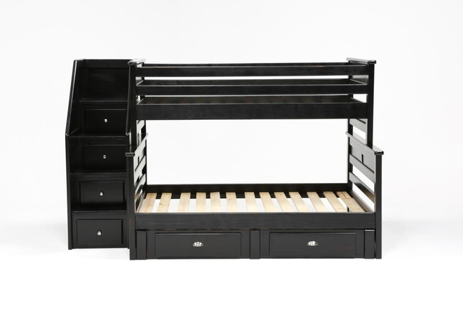 Summit Black Twin Over Full Bunk Bed With 2 Drawer Underbed Storage & Stairway Chest - 360