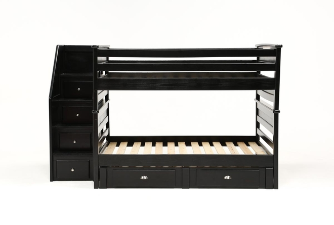 Summit Black Full Over Full Bunk Bed With 2 Drawer Underbed Storage & Stairway Chest - 360
