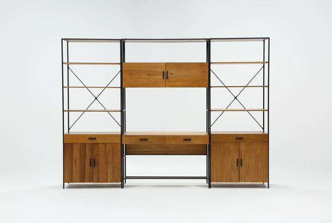 Hollis 3 Piece Desk With Wide Cabinet Piers - 360