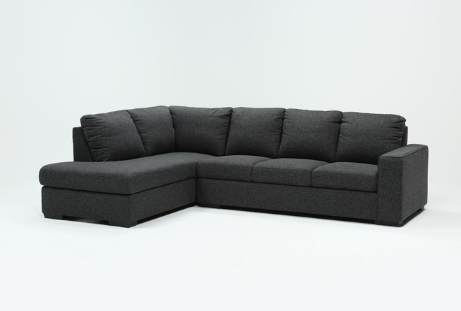 "Lucy Dark Grey 2 Piece 114"" Sectional With Left Arm Facing Chaise - 360"