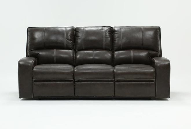 Clyde Grey Leather Power Reclining Sofa W/Power Headrest & Usb - 360